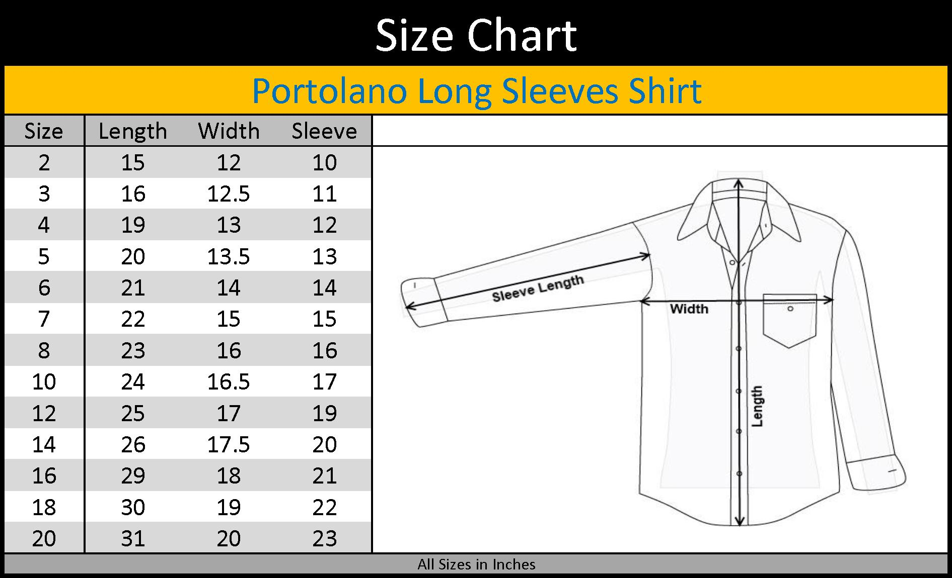 Mens Dress Shirt Size Chart