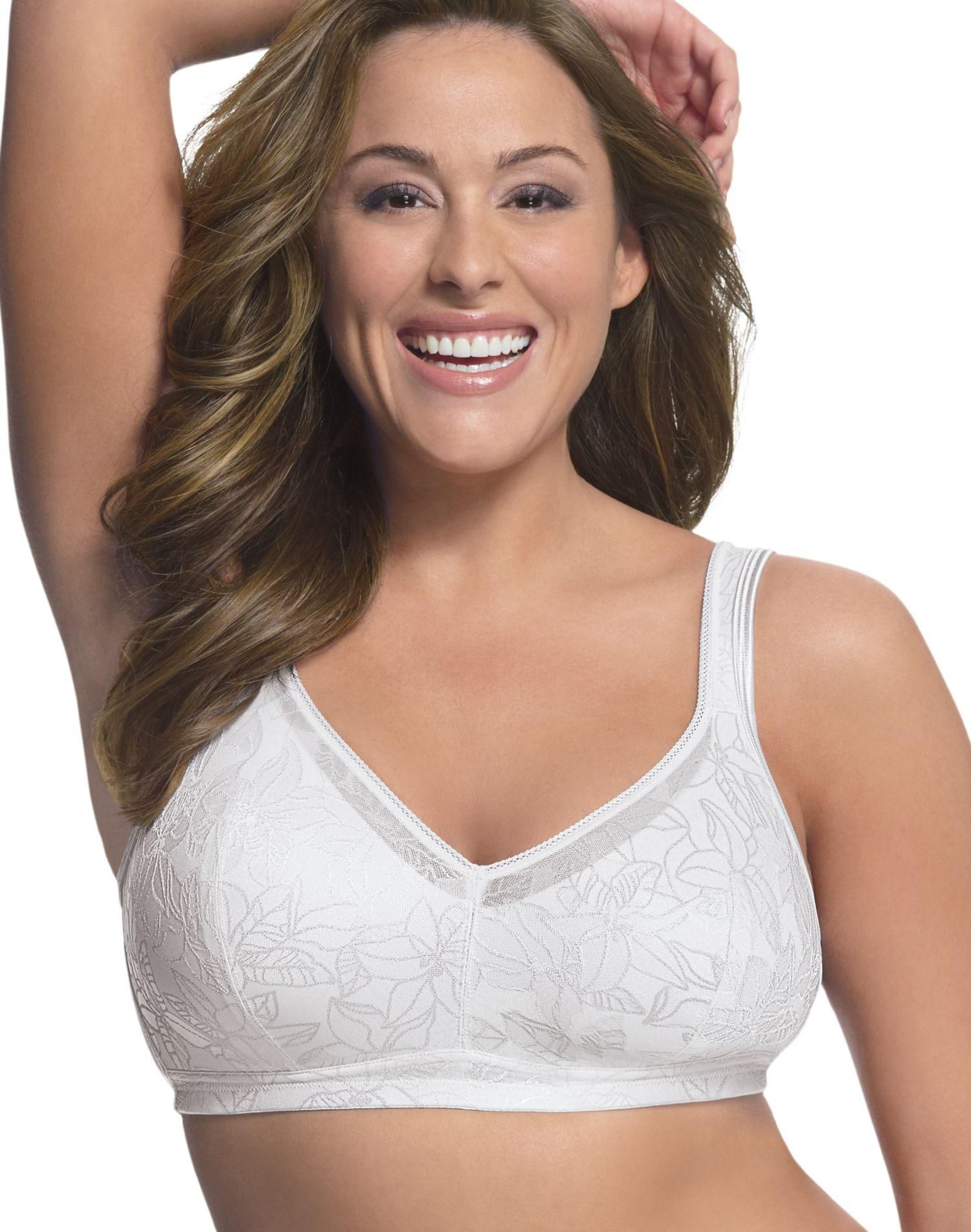 JUST MY SIZE Soft Support Wirefree Bra with Hidden Pocket ...