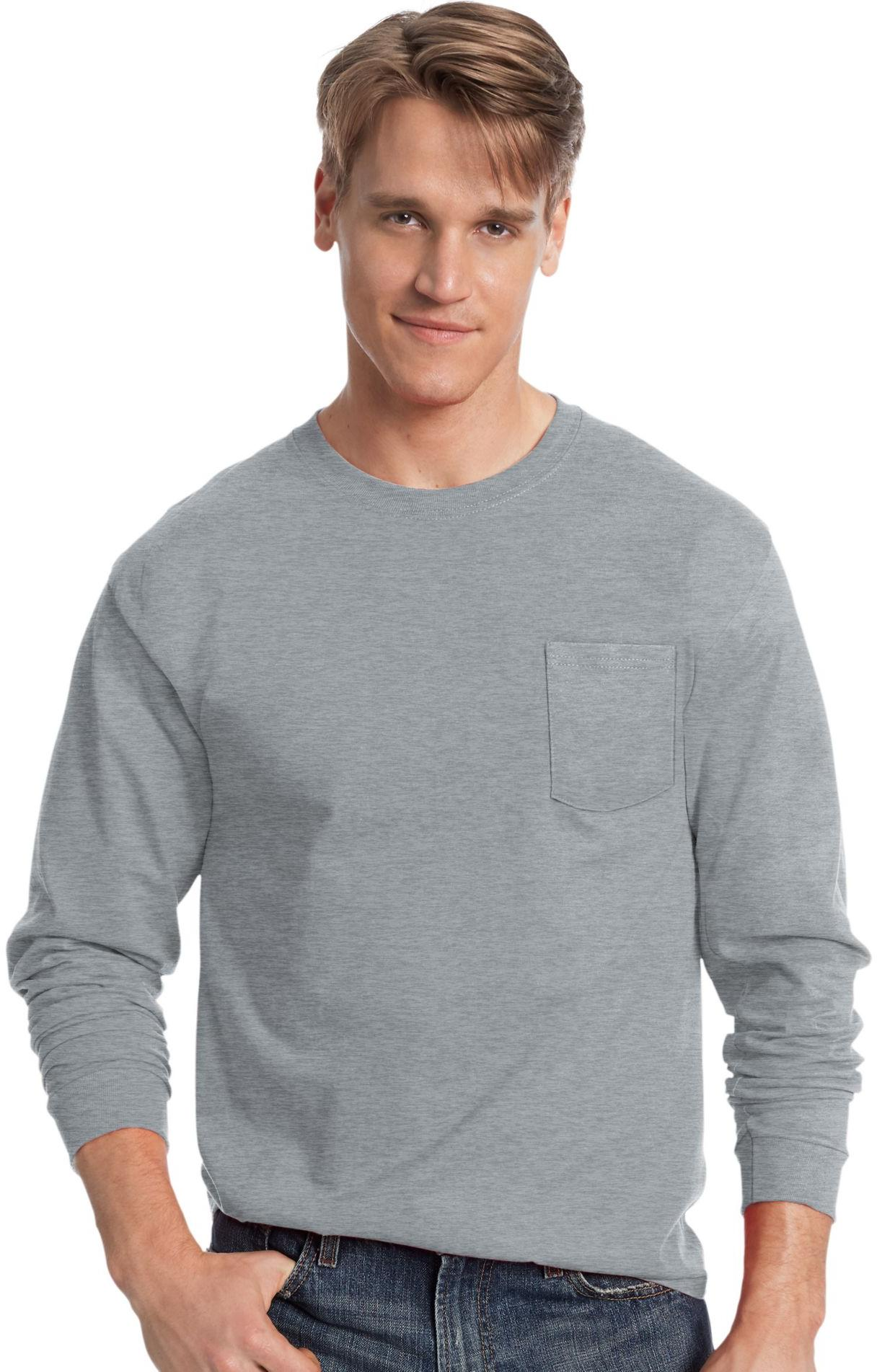HANES Men's TAGLESS Long-Sleeve T-Shirt with Pocket - 5596 ...